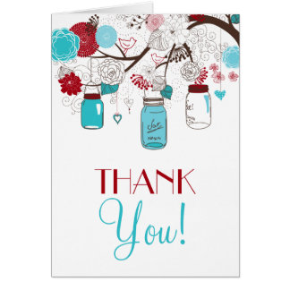 Red and Blue Mason Jars Holiday Thank You Card
