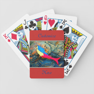 red and blue mermaid bicycle playing cards