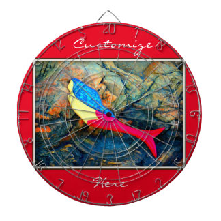 red and blue mermaid dartboard