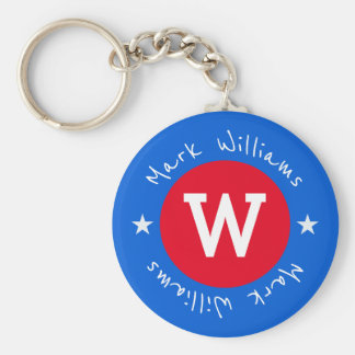 red and blue monogram - personalized keychain