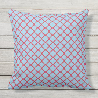Red and blue Moroccan pattern Throw Pillow