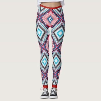Red and Blue Multi-Color Design Women's Leggings