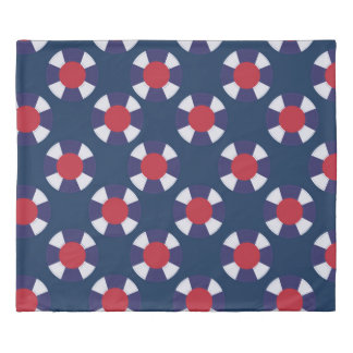 Red and Blue Nautical designs Duvet Cover