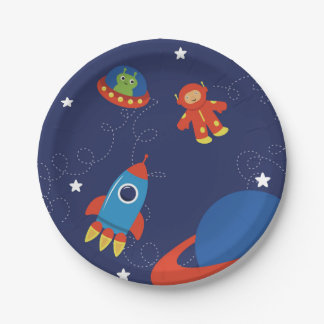 Red And Blue Outer Space Paper Plate