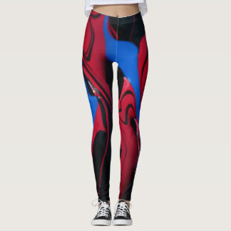 Red and blue paint colors leggings