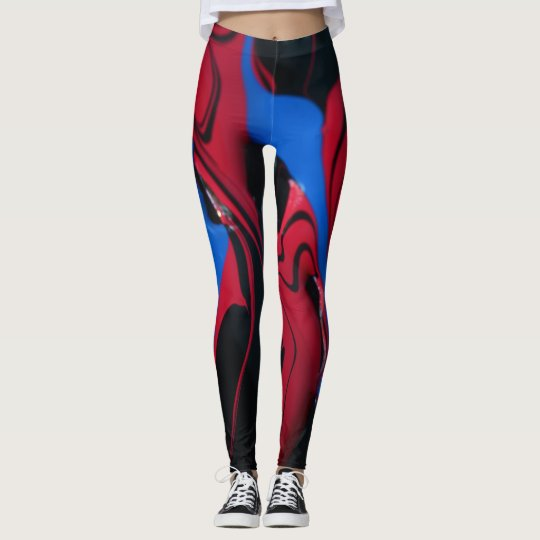 Red and blue paint colours leggings