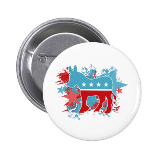 Red and Blue Paint Splatters Democrat Donkey 2 Inch Round Button