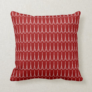 red and blue Paris Eiffel tower pattern Throw Pillow