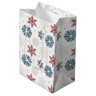 Red and Blue Patriotic Snowflakes on White Pattern Medium Gift Bag