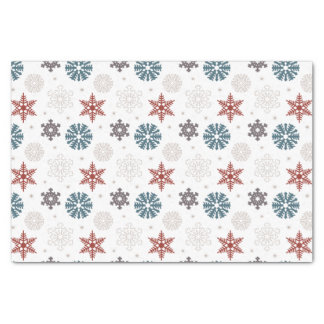 Red and Blue Patriotic Snowflakes on White Pattern Tissue Paper