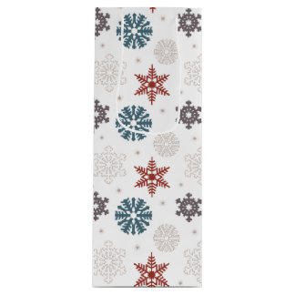 Red and Blue Patriotic Snowflakes on White Pattern Wine Gift Bag