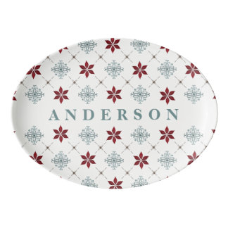Red and Blue Pattern Serving Tray
