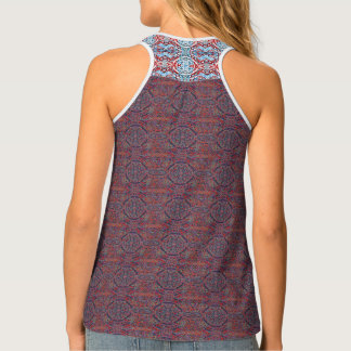 Red and Blue Patterned Tank Top
