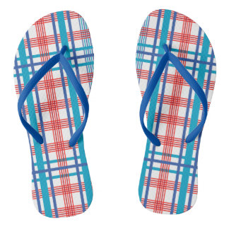 Red and Blue Plaid Flip Flops