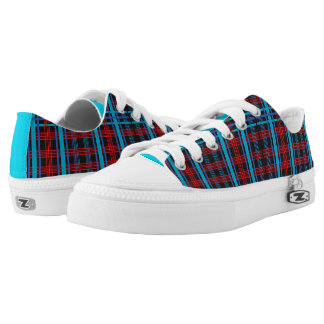 Red and Blue Plaid Low-Top Sneakers