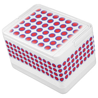 Red and Blue Polka Dots White