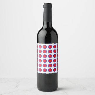 Red and Blue Polka Dots White Wine Label