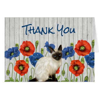 Red and Blue Poppies with Siamese Cat Card