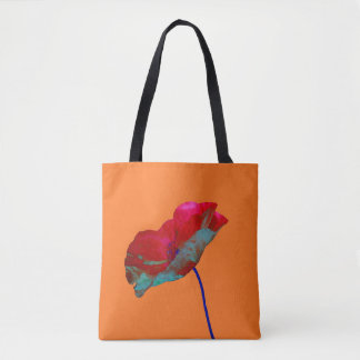 Red and blue poppy flower art print on orange tote bag