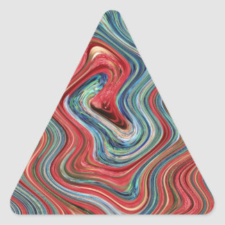 Red and blue psychedelic twirl triangle sticker
