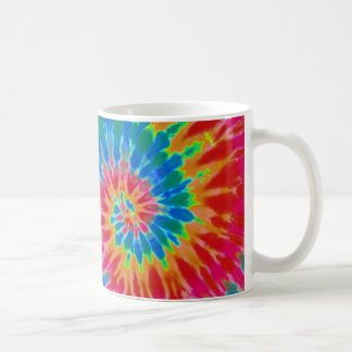 Red and Blue Rainbow Spiral Tie Dye Mug
