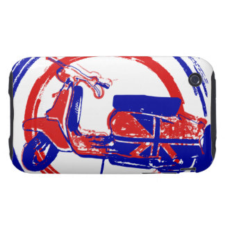 Red and blue retro scooter art tough iPhone 3 cover