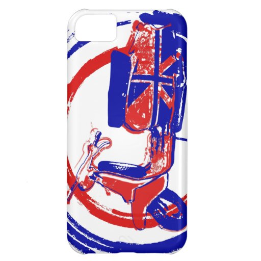 Red and blue retro scooter art case for iPhone 5C