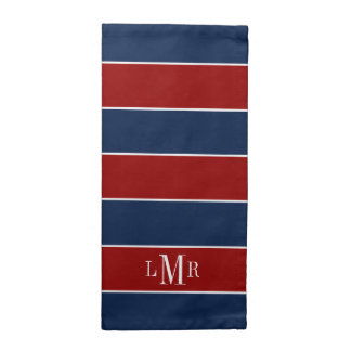Red and Blue Rugby Stripes 3 Letter Monogram Napkins