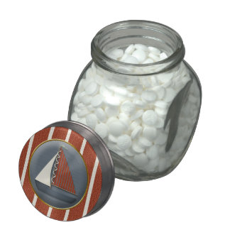 Red and Blue Sailboat Baby Shower Candy Jar