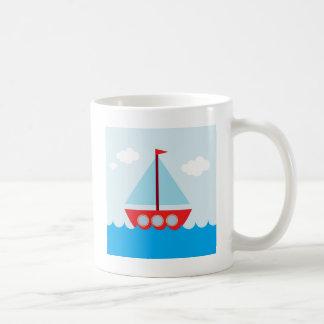 Red and Blue Sailboat on the Sea Coffee Mug