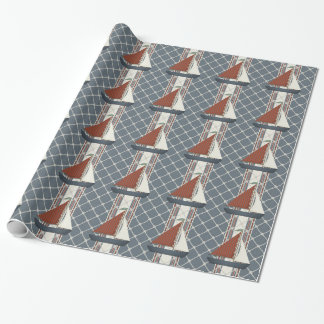 Red and Blue Sailboat Wrapping Paper