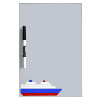red and blue sea ship dry erase board