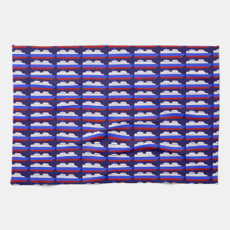 red and blue sea ship kitchen towels