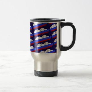 red and blue sea ship travel mug