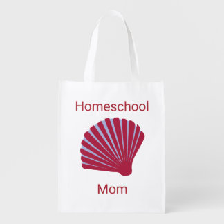 Red and Blue Seashell  Homeschool Mom Reusable Grocery Bag