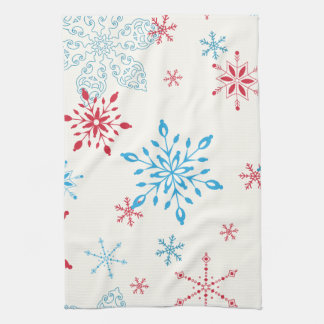 Red and Blue Snowflakes on a white background Kitchen Towel