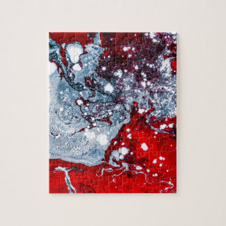 Red and Blue space marble Jigsaw Puzzle