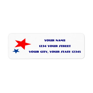 Red and Blue Star Address Label