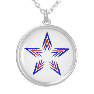 red and blue star silver plated necklace