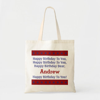 Red and Blue Stars Personalized Birthday Song Bag