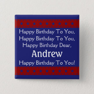 Red and Blue Stars Personalized Happy Birthday 2 Inch Square Button