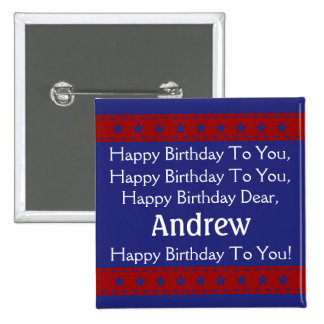 Red and Blue Stars Personalized Happy Birthday Button
