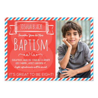 Red and Blue Stripes LDS Baptism Announcement