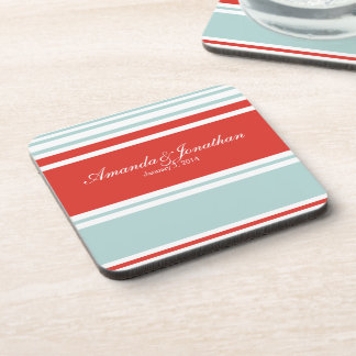 Red and Blue Stripes Wedding Favor Drink Coaster