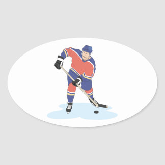 red and blue uniform ice hockey player vector grap oval sticker
