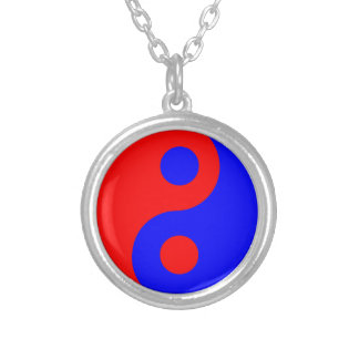 Red and Blue Yin Yang Symbol Silver Plated Necklace