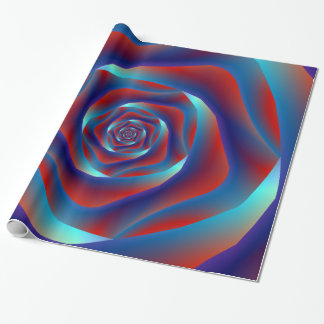 Red and Blues Spiral Rose Wrapping Paper