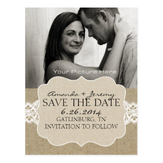 Red and Brown Chic Woodgrain Save the Date Postcard