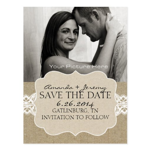 Red and Brown Chic Woodgrain Save the Date Post Cards