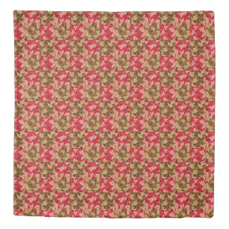 Red And Brown Fall Colours Autumn Floral Duvet Cover